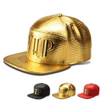 Marque Luxury Gold VIP Chapeau en lettre PU Crocodile Grain Snapback Hat Adulte DJ Street Baseball Caps For Men Femmes Rouge / Noir / Doré