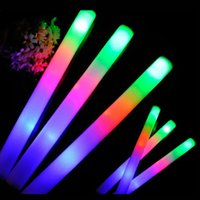 Wholesale Rave Supplies - Wholesale- 24Pcs Lot Colorful Flashing LED Foam Sticks 48cm Light-Up Glow Stick Soft Rally Rave Cheer Tube Wand For Party Festival Supplies