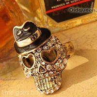 ingrosso diamante pirata-Popolare Unisex Bowler Black Hat Crystal Diamond Skull Pirate Stretch Ring Gift # R48