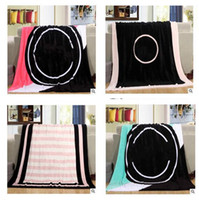 Wholesale Free Sofa Beds - Blankets For Beds Coral Fleece Sofa High Quality Travel Letter Warm Beach Cover Throw Blanket Air Condition Christmas Gifts Free Shipping