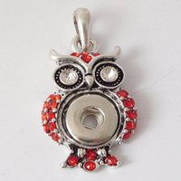Wholesale Cute Owls Make - 3 Colors 12mm Cute Antique Silver Owl Rhinestone Snap Buttons Pendants For Jewelry Making DIY Bracelets Necklaces Women