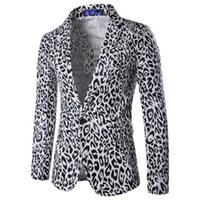 Fashion single button singolo Slim casual Jacket Giacca da uomo stampata leopardato da sposa Designer di abiti da lavoro Slim Fit Business