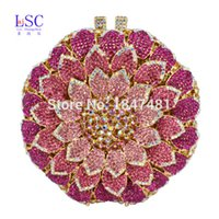 Wholesale Diamond Prom Bags - Wholesale- LaiSC Pink Circular Flower shape Evening Bag with Metal Diamond Ladies Evening Clutch Bag Party Crystal Purse Prom Pouch SC202-B