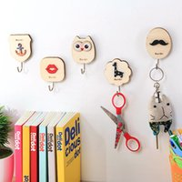Wholesale owl ornaments - Originality Door Pothook Paste Type Beard Owl Woodiness Small Objects Hook Many Styles Bedroom Ornament Articles 1 4rc C R