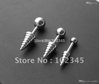 Wholesale Straight Barbells - 16g ear stud straight barbell with spiral cone body jewelry body piercing jewelry 100pcs lot