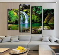 Wholesale Large Modern Wall Art Canvas - Unframed 4 Panel Waterfall and Green Lake Large HD Picture Modern Home Wall Decor Canvas Print Painting for House Decorate Home Art Decor Pa