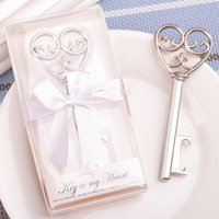 Wholesale Packaging Bottle Suppliers - Personalized 100pcs lot Bottle Opener Gift Silver Wedding Bottle Beer Opener Key Wedding Favors Party Supplier With Box Package