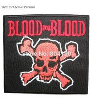 Wholesale Blood Metal - BLOOD FOR BLOOD Skull HC Hardcore Music Band Punk Rock Embroidered NEW IRON ON SEW ON Patch Heavy Metal Custom design patch