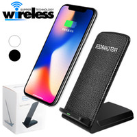 Wholesale Uk Desktops - Fast Qi Wireless Charger 9V 1.67A 5V 2A Desktop Holder Stand For Samsung S8 Plus Iphone 8 plus X Universal Fast Charger 2 Coils Pad