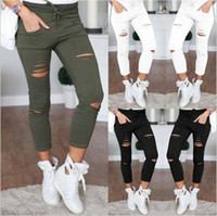 Wholesale Wholesale Plus Size Tights Leggings - Leggings High Waist Jeggings Women Denim Tights Fashion Plus Size Pencil Pants Women Print Slim Skinny Foot Pants Casual Hole Trousers B2621