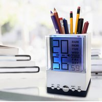 Wholesale Thermometer Calendar Pen Holder - Pen Holder Desktop Alarm Clock LED Large Display 7 Color Light Changing Square Table Clocks With Thermometer Calendar