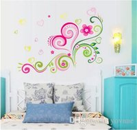 Wholesale Wallpaper Love Flower - 3Pieces lot Love flowers wall stickers sitting room bedroom background adornment Romance marriage room PVC wallpaper