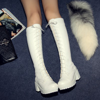 Wholesale Thigh High White Lace Boots - wholesaler free shipping factory price snow square heel round nose lace up knee women boots 097