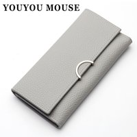 YOUYOU MOUSE Simple Cross Pattern Portefeuilles Ladies Long Fashion Envelope Coin Pocket Wallet Coréen Style 3 Fold Card Holder Purse