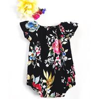 mameluco de flores negras al por mayor-Bebé niñas flor de verano mameluco verano negro floral manga corta mameluco bebés niños trajes para 0-2T