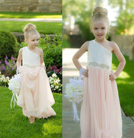 Wholesale One Shoulder Beaded Flower Girl - one shoulder flower girls dresses for weddings beaded waist toddler floor length first communion dress cheap kids pageant gowns