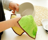 Wholesale Cotton Microfiber Rags - High Efficient Anti-grease Color Dish Cloth Microfiber Washing Towel Magic Kitchen Cleaning Wiping Rags Wholesale LLFA