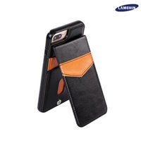Wholesale Iphone Cover Leather Retro - Learther Case Luxury Retro Leather TPU Shockproof Hard Back Case Cover with Credit Card Slots Photo Frame Magnet for iphone7 6S Plus 6plus