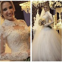 buy muslim high neck wedding dress - Spring Muslim 2016 Wedding Dresses Lace Princess Ball Gown Bridal Gowns With Sweetheart Neck Long Sleeves Zip Back Jacket Free Luxury