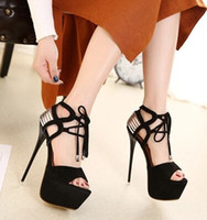 New Arrival Hot Sale Princess Summer Noble Discoteca Catwalk Show Sexy Black Cross Straps Plataforma Black Party Heels Sandálias EU34-40