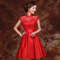 Wholesale Red Lace Qipao - HF218 Qipao Red Lace Cheongsam Modern Chinese Traditional Wedding Dress Women Vestido Oriental Collars Sexy short Qi Pao Free Shipping