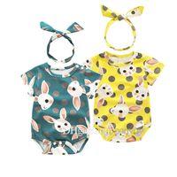 Wholesale baby rabbit rompers - Newborn baby rompers with Animal Rabbit Print Kids Girls Cute Short sleeve Bodysuit headbands 2pcs set summer Triangle climb clothes KST17