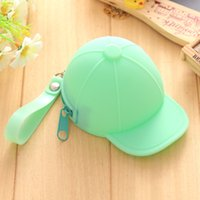 Wholesale Jelly Hat - Wholesale- Cap Hat Style Jelly Candy Color Silicone Coin Purse Kids Gift Cartoon Trendy Mini Bag Lady Change Purse Women Smart Wallets