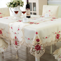 Wholesale Embroidery Dining Table Covers - Europe Style Computer Embroidery Dining Table Cloth Rectangle Tablecloth Covers Home Decor Wedding Decoration Size 60x60cm-140x220cm