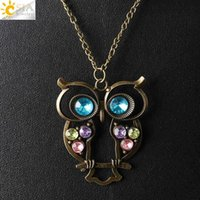 Wholesale Bronze Owl Bead Necklace - CSJA Vintage Owl Bird Pendant Sweater Long Chain Necklace Antique Bronze Plated Women Jewelry Pink Purple Blue Green Rhinestone Bead E369