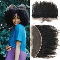 Wholesale Indian Remy Lace Frontals - Afro Kinky Curly Lace Frontal Closure Indian Non-remy Human Hair 13x4 Ear to Ear Lace Frontals 8-22 inch FDSHINE