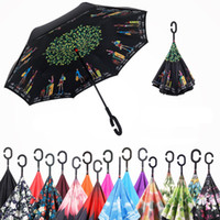 Wholesale Nylon Long Tube - Inverted Umbrellas Creative Double Layer 3D Print Sun umbrella Raining Windproof Bumbershoot With C Hook hand For Car Inside Out OEM DHL