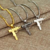 Wholesale Silver Design Charm Pendant - Charm Necklaces Mens Hip Hop Jewelry Gangsta Pendant Necklaces Design Punk Rock Fashion Filling Pieces Chains