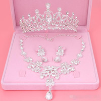 Wholesale Red Bridal Tiara Sets - cheap Set Crowns Necklace Earrings Alloy Crystal Sequined Bridal Jewelry Accessories 2017 Free Shipping Wedding Tiaras Headpieces Hair
