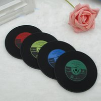 Wholesale Silicone Rubber Coaster - Coaster Retro CD Black Rubber Mats Pads Vintage Record Coasters Keep It Clean Hot Selling High Quality Original Red Blue 0 99ws