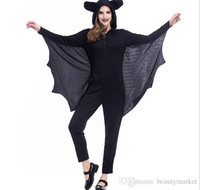 Wholesale Women Sexy Halloween Costumes Devil - New Fashion Sexy Vampire Costume Women Clothes Halloween Masquerade Plays Black Evil Bat Costume PS1707