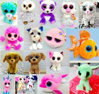 peluche authentique achat en gros de-TY beanie boos jouets en peluche Simulation Animal TY Peluches Super Doux 18 cm Grands Yeux Animaux Poupées Enfants Cadeaux