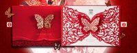 Wholesale Invitations Cards Rsvp - Hot Style Chinese Elements Red Laser Cut Hollow Butterfly Customized Wedding Invitation   RSVP Cards Personalized Wedding Supplies