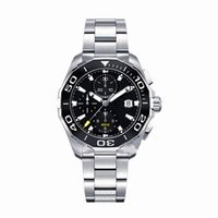 Wholesale Sport Watches Brands - AAA Top Luxury Brand Men's Chronograph Watch 43mm Ceramic Bezel Stainless Steel Quartz Movement Sports Men Watches Aquaracer Wristwatch