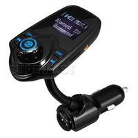lcd bluetooth toptan satış-T10 Kablosuz Araba MP3 Bluetooth Araba Oyuncu LCD Ses Stereo USB Araç Şarj FM Verici Destek TF Kart Perakende Paketi ile