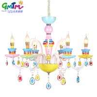 Wholesale Hot Beautiful cute colorful lighting crystal chandelier modern for baby room little girl bedroom princess room