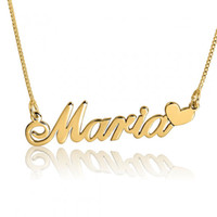 Wholesale Name Chains Wholesale - Wholesale-New Arrival Fashion Custom Name Pendant Necklace Popular Design Personalized Name with Heart Choker Necklace Collares