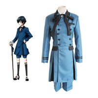 Wholesale Ciel Phantomhive Blue Cosplay - Anime Black Butler 2 Kuroshitsuji Ciel Phantomhive Blue Boy Lolita Suit Anime Unisex Cosplay Costume Blue Sets