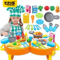 Wholesale Toy Kitchen Utensils Wholesale - GouGouShou Children Food Cook Kitchen Utensils Toy Portable Kits Children Cosplay Role Play Baby Cutting Vegetables Classic Toys