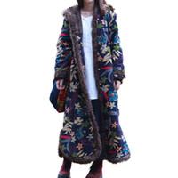 chinesische blumenjacke großhandel-Einreiher Herbst Winter Jacke Floral chinesischen Stil Baumwolle gepolsterte Trenchcoat mit Kapuze Frauen Jacke gesteppte lange Windjacke