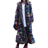 Wholesale Quilted Trench Coat - Single Breasted Autumn Winter Jacket Floral Chinese Style Cotton Padded Trench Coat Hooded Women Jacket Quilted Long Windbreaker