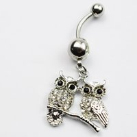 Wholesale Girls Jewlery - clear color 02-0280 belly ring nice Owl style belly ring with piercing body jewlery navel belly ring body jewelry