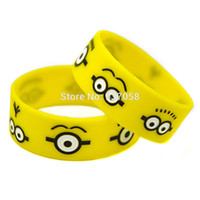 Wholesale Despicable Charms - 2pcs yellow silicone bracelet Despicable Me Minions Eyes rubber wristband Wide comic silicone band Debossed rubber bangle