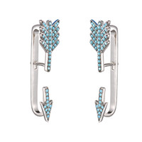 Wholesale Cubic Zirconia Clip Earrings - KIVN Fashion Jewelry Pave CZ Cubic Zirconia Turquoise Arrow Ear Cuff Ear Crawler Climber Earring Jackets