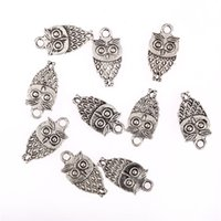Wholesale Wholesale Tibetan Owl Bead - Wholesale- Tibetan silver beads charms Owl pendants fit bracelets Necklace DIY jewelry making 10pcs