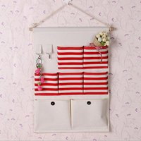 Wholesale Decorative Wall Hangings Fabric - Hot Selling 35x50cm 7 Pockets Home Decorative Wall Door Hanging Storage Bags Stripe Stitching Door Cosmetic Organizer Bathroom